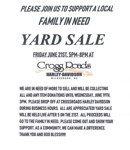 A live after 5 Yard Sale to support a local family in need.