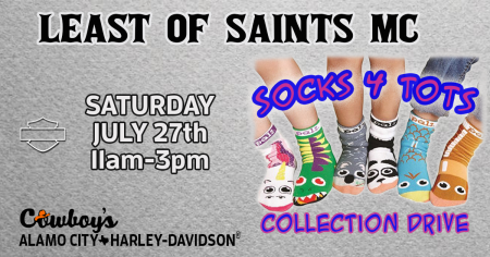 Least of Saints MC Socks 4 Tots Collection Drive