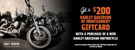 Get a $200 Gift Card when you purchase a brand new motorcycle.