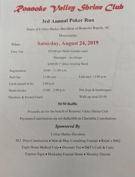 Roanoke Valley Shrine Club 3rd Annual Poker Run