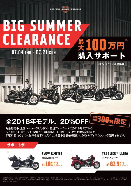 BIG SUMMER CLEARANCE 開催中!! 2018年モデル20%OFF!!