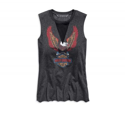 LADIES MESH INSET MUSCLE TEE