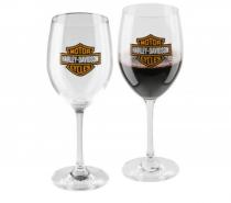 Harley-Davidson® Core Bar & Shield Logo Wine Glass Set