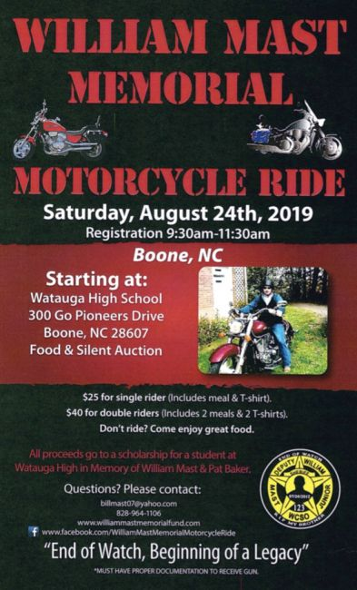 WilliamnMast Memorial Motorcycle Ride is Saturday, August 24th