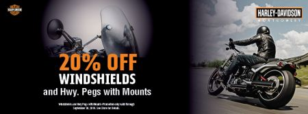 20% Off Windshields and Hwy Pegs with Mounts
