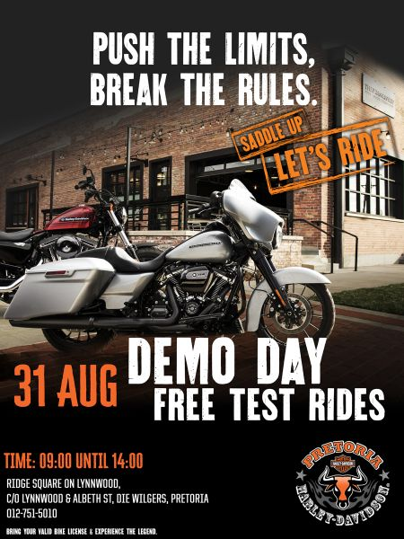 Pretoria Harley DEMO DAY SATURDAY - 31 August 2019