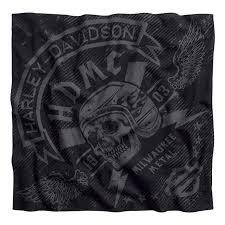 Men's Skull Lightning Black Cotton Bandana