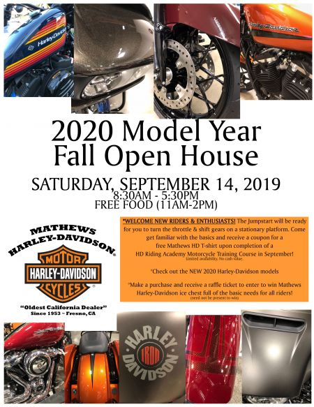 2020 Model Year Open House Event at Mathews HD (tentative)