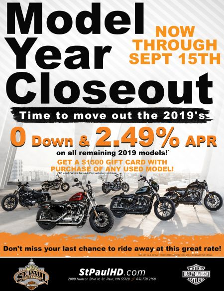 $0 Down and APR as low as 2.49% on remaining 2019 models. Also, get $1500 gift card with purchase of used vehicle!