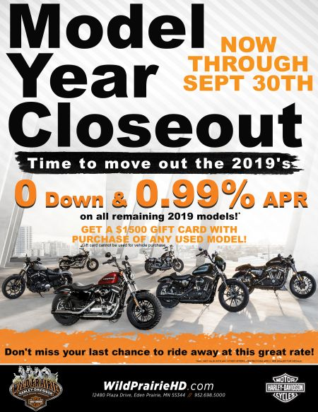 $0 Down and APR as low as 0.99% on remaining 2019 models. Also, get $1500 gift card with purchase of used vehicle!