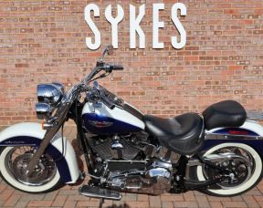 2005 Harley-Davidson FLSTNI Softail Deluxe, Full Stage One, in Glacier White and Cobalt