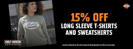 15% Off Long Sleeve T-Shirts and Sweatshirts