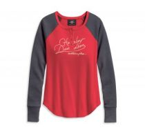 Womens Chinese Red World Famous Henley