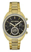 Harley-Davidson® Women's Crystal Six-Hand Chronograph Watch, Gold-Tone