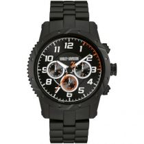 Harley-Davidson® Mens Chronograph Brake Plate Watch, Black Stainless Steel