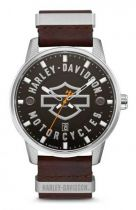 Harley-Davidson® Men's Bar & Shield Brown Leather Stainless Steel Watch