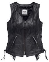 Harley-Davidson® Women's Boone Fringed Side Lace Leather Vest