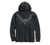 Harley-Davidson® Men's Distressed Winged Skull Zip-Up