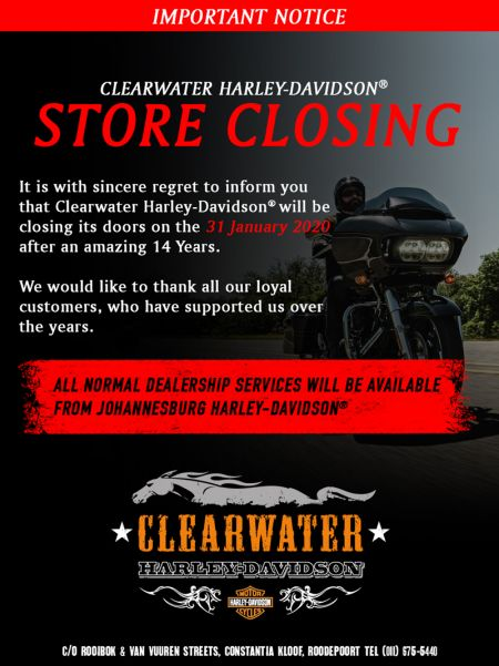 Clearwater Harley-Davidson Store Closure Notice