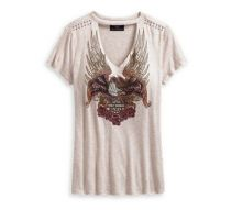 Harley-Davidson® Women's Studded Eagle & Roses Tee