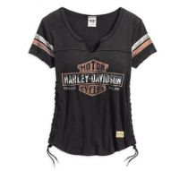 Harley-Davidson® Women's Genuine Side Laced Short Sleeve Tee, Black