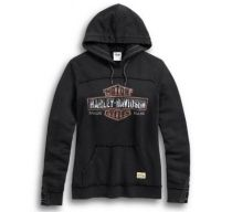 Harley-Davidson® Women's Genuine B&S Pullover Hoodie, Wash Black