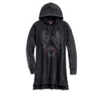 Harley-Davidson® Women's Winged Logo & Roses Pullover Tunic Hoodie
