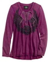 Harley-Davidson® Women's Flowered Winged Skull Long Sleeve Henley