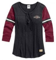 Harley-Davidson® Women's Genuine Laced Neckline 3/4 Sleeve Shirt
