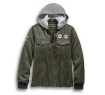 Harley-Davidson® Women's Patches Hooded Bomber Casual Jacket, Green