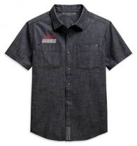 Harley-Davidson® Men's Chambray Slim Fit Short Sleeve Woven Shirt