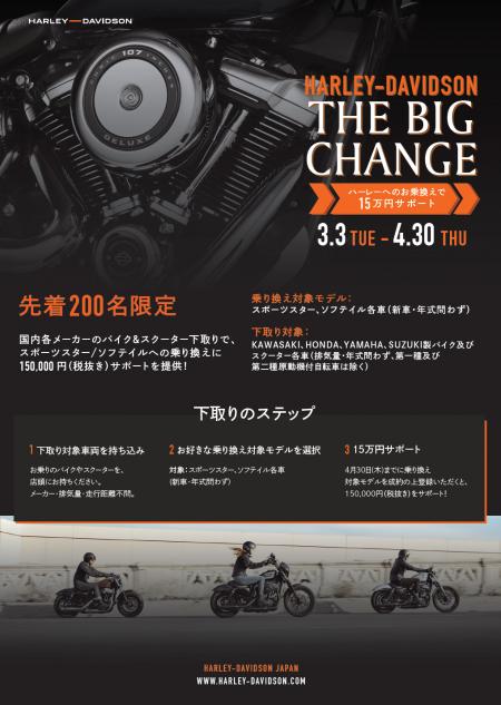◆ハーレーへの乗り換えで15万円サポート◆