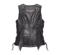 Ladies Boone Fringed Side Lace Leather Vest