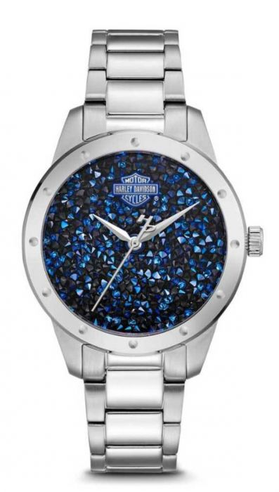 Blue Crystal Rock Sparkles stainless steel watch