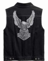 Men's Embossed Upright Eagle Denim Vest - Black